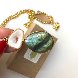 Labradorite and White Geode 18k Gold Necklace
